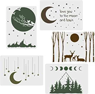 "CODOHI 5 Packs Moon Stars Stencils - Night Sky Elk Forest Pattern Moon Phase A4 Art Reusable Mylar Template for Journaling, DIY Home Decor 11.7""x 8.26"""