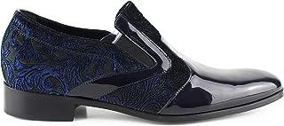 Derby - Zapatos de ceremonia para hombre, clásicos, artesanales, de pintura azul y terciopelo de metal azul