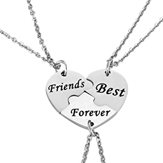 Nimteve 3pcs Keychain Necklace Matching Heart Jewelry Set for Friends BBF Forever