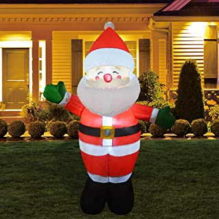 GOOSH 5 FT Christmas Inflatable Outdoor Smiley Santa Claus, Blow Up Yard Decoration Clearance with LED Lights Built-in for...