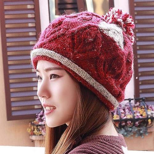NANIH Home Chapeau la Fille roulée et épaisse Bonnet tricoté à la Main Bonnet Baotou Bonnet en Laine Bonnet d'équitation mère Bonnet