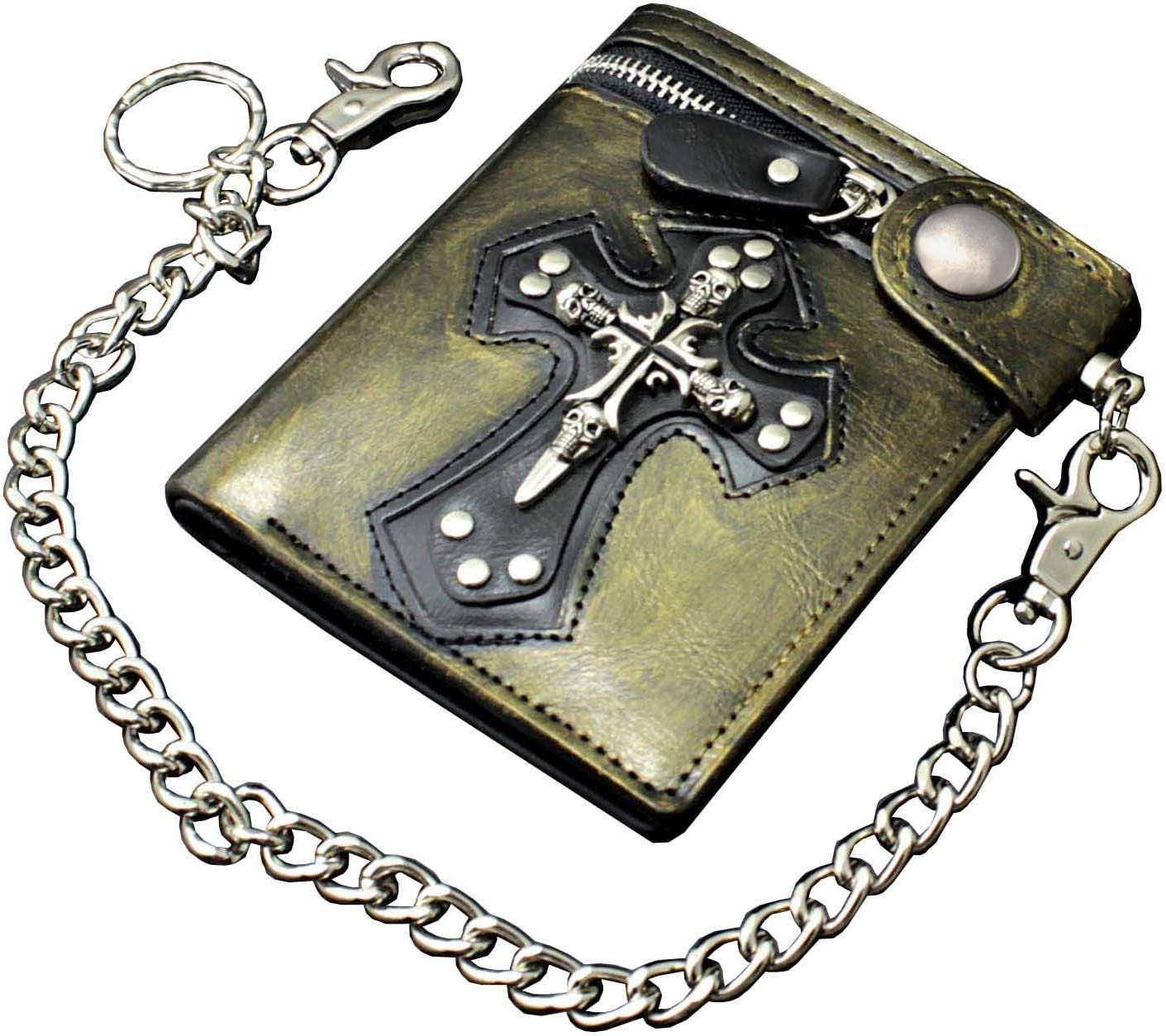 Cool Mens Gothic Punk Vintage Gold Leather Momey/Card Wallet with Safe pants chain
