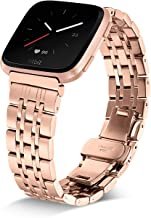Shangpule Compatible for Fitbit Versa & Versa Lite Bands, Stainless Steel Metal Replacement Strap Bracelet Wrist Band Accessories for Versa Smart Watch Women Man Large Small