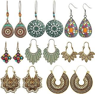 8 Pairs Boho Jewelry Earrings Set Retro Statement Leaf...