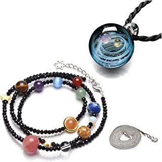 Top Plaza Fashion Glass Necklace Jewelry Universe Galaxy Nebula Space Cosmos Glass Ball Pendant Unique Special Birthday Christams Gift for Womens Girls
