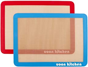 "UOON Silicone Baking Mat Sheet Set (2) Half Sheets 16.5"" x 11 - Non Stick Cookie Sheets Professional Grade"