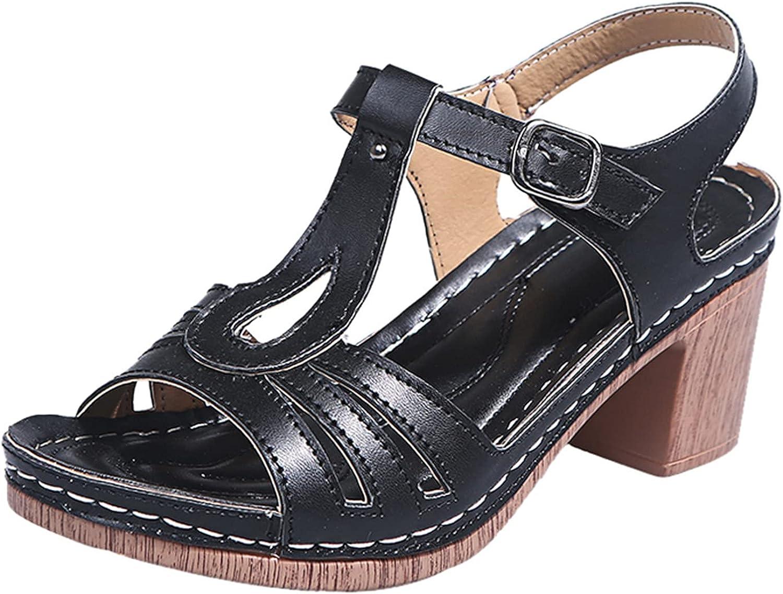 TUSANG Womens High Heels Sandals Hollow Out Indoor Outdoor Shoes Indoor Outdoor Travel