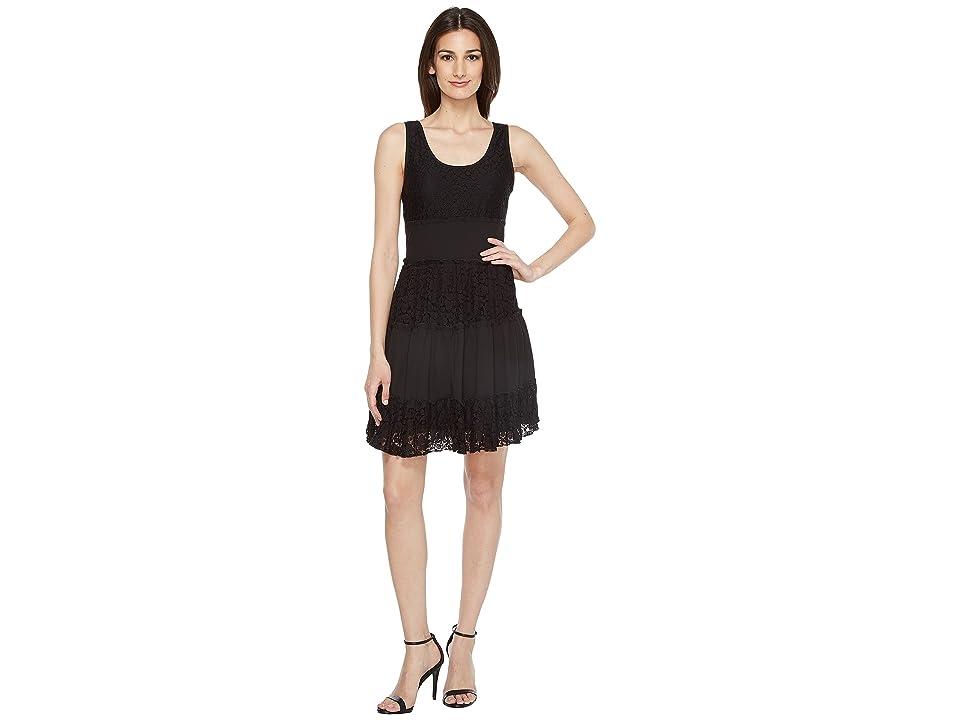 Karen Kane Tara Tiered Lace Dress (Black) Women