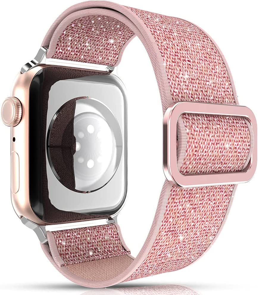 KINGXBAR Glitter Stretchy Solo Loop Bands Compatible with Apple Watch 38mm 40mm for Women Girls Sport Elastic Nylon Adjustable Bling Braided Strap Rose Gold for iWatch Series 6/5/4/3/2/1 SE Pink