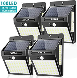 Solar Lights Outdoor Motion Sensor Lights, ASAKA 100 LED Wireless Waterproof Security Light with Wide Angle for Garden Garage Yard (Pack of 4, Cool White)