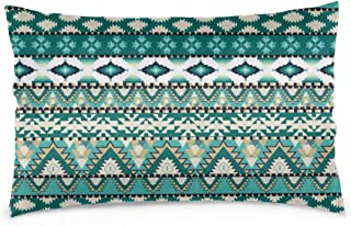Akghil Pillowcases for Hair and Skin, Tribal Aztec Design Geometrical Elements Triages Squares Primitive Pixel Art,Hypoallergenic,Wash-Resistant 16