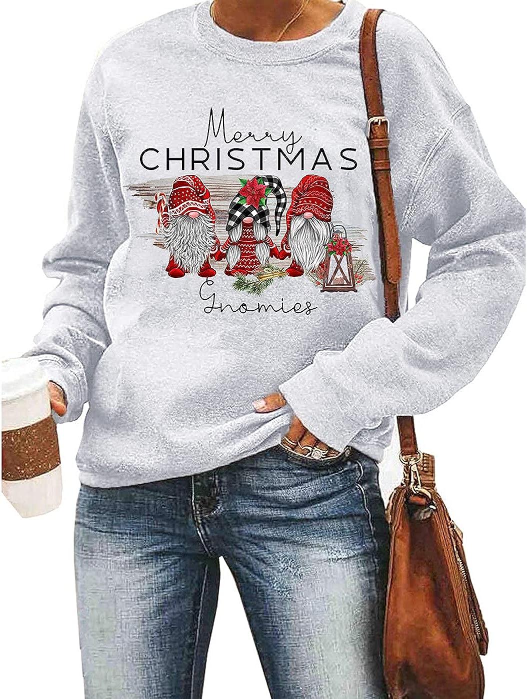 Women Merry Christmas Sweatshirt Long Sleeve Funny Buffalo Plaid Leopard Print Christmas Trees Graphic Pullover Tops Blouse