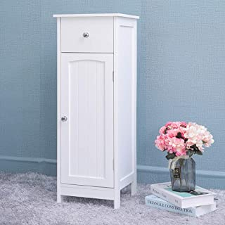 Iwell Small Bathroom Floor Storage Cabinet with 1 Drawer, Free Standing Kitchen Cupboard Wooden Cabinet with 1 Doors, White YSG001B