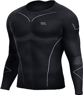 Souke Sports メンズ コンプレッションシャツ 吸汗速乾 コンプレッションウェア長袖 スポーツウェア スポーツシャツ