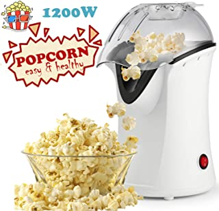 Popcorn Machine 1200W Hot Air Popcorn Popper Electric Maker for Home with On Off Switch, No Oil Needed (White)
