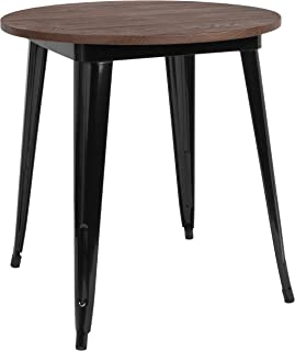 Taylor + Logan 26 Inch Round Metal Indoor Table with Walnut Rustic Wood Top, Black