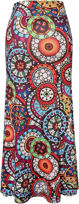 Hoohu Womens Bohemian African Floral Print High Waist Pleated Hem Full/Ankle Length Long Maxi Swing Skirt Dress