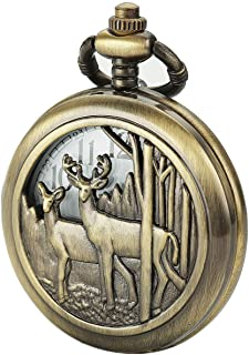 SIBOSUN Pocket Watch With Chain Deer Reindeer Woodland Men Smooth Back Case Bronze Vintage Box Quartz