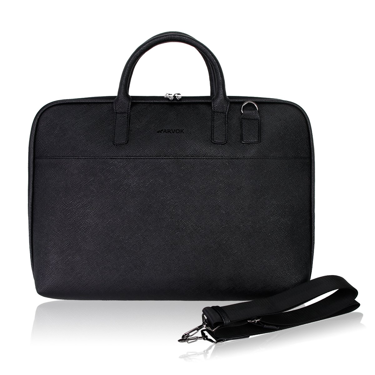 Arvok 15 15.6 Inch PU Leather Laptop Bag with Handle /& Zipper Pocket//Water-Resistant Notebook Computer Case//Ultrabook Tablet Briefcase Carrying Sleeve for Women and Men Black