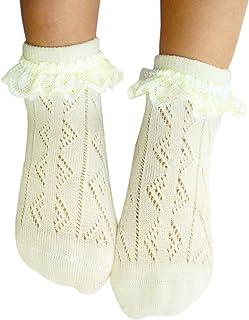 JHosiery, 3-14 Años Niña Pointelle Calcetines Tobilleros de algodón Con Mínima Punta Costura_Talla S_2 pares crema vainilla con encaje