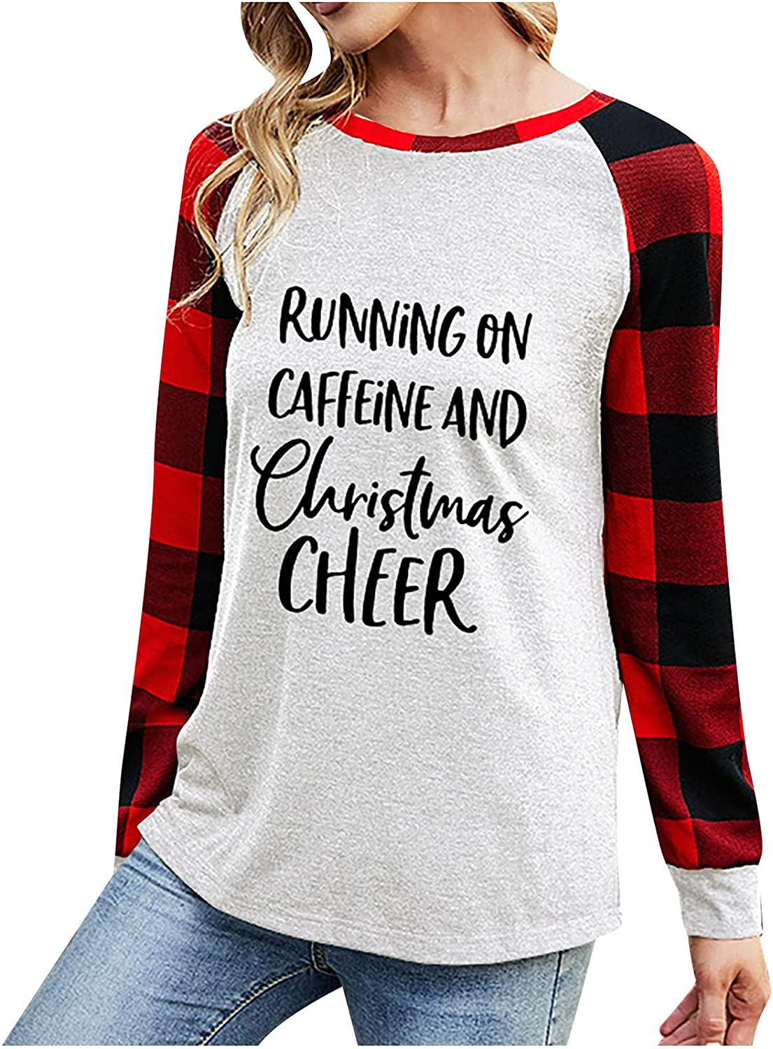 Women Pullover Tops Plaid Splicing Printed Long Sleeve Round Neck Casual Loose Base Sweatshirts Autumn Comfy Blouses