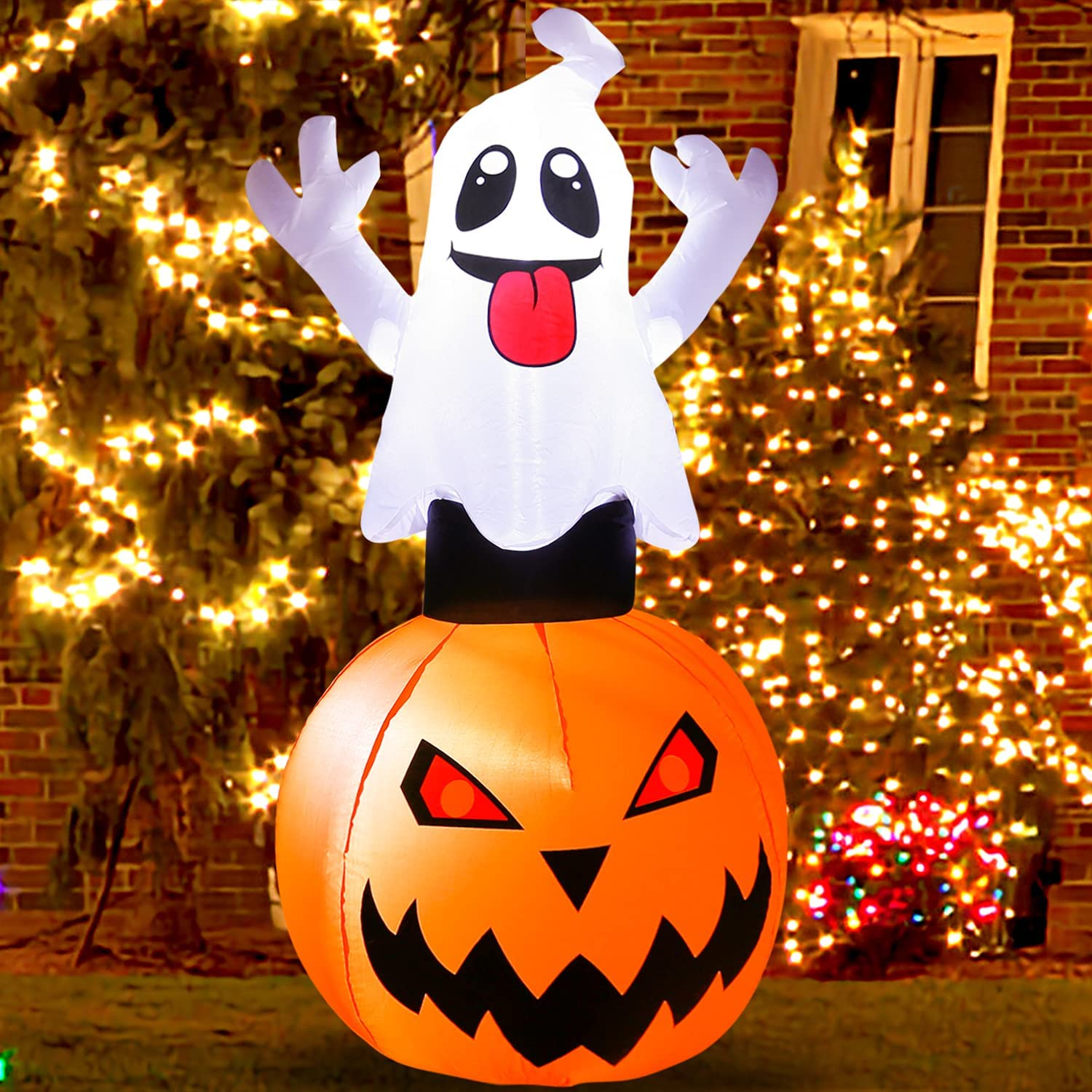 5 Ft Halloween Decorations Outdoor Inflatable Ghost Pumpkin Halloween Inflatables Blow up Pumpkin with Super Bright LED Lights for Home Yard Garden Lawn Party Holiday Decor Indoor