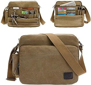Rubik Men's Shoulder Crossbody Side Bag, Multifunctional Canvas Messenger Handbag Purse for Work Business - Khaki