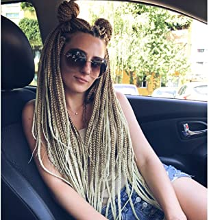 Alileader 6 Packs/Lot 22 Strands/Pack Ombre Box Braids Crochet Hair 30 Inch 1cm in Diameter 3X Synthetic Braiding Hair Extensions Crochet Braids Hair (#27/613)