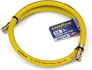 "Goodyear 3' x 3/8"" Rubber Whip Hose Yellow 250 Psi"