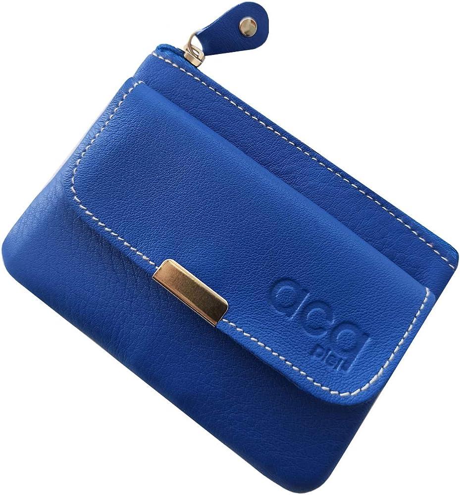 Fioncci, portafoglio da donna in vera pelle, blu