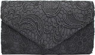 PB-SOAR Elegant Damentasche Clutch Abendtasche Brauttasche Umhängetasche Handtasche mit Spitze, 8 Farben auswählbar (Schwarz)