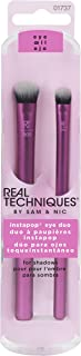 Real Techniques InstaPop Eye Brush Duo, Two Makeup Brushes for Application of Loose Pigment Eyeshadow, Specially Shaped to Cleanly Pick up & Apply Makeup Powder (Packaging May Vary)