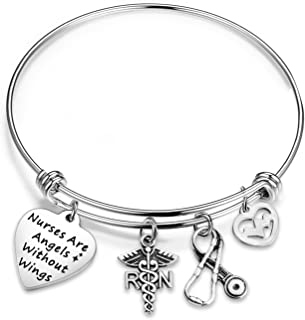 bobauna Nurse Bracelet Keychain with RN Caduceus Stethoscope Heartbeat Charms Gift for Nurse Doctor Medical Student Nurses are Angels Without Wings