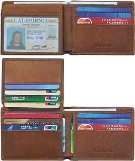 男士钱包,Schumarson RFID 屏蔽超薄前口袋钱包,真皮钱包,带身份证窗