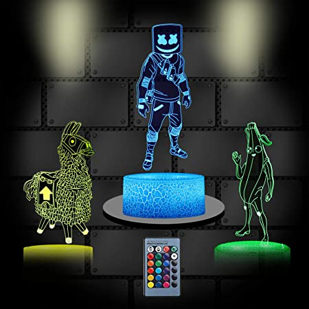 4 Patterns 7 Colors Change 3D Game Lamp with Timing Remote Control Perfect Birthday Holiday Christmas Gift for Kids//Boys//Girls//Game Players 3D Illusion Night Light