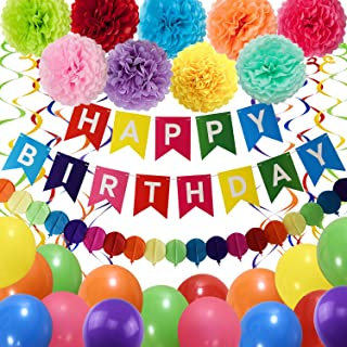 THAWAY Birthday Decorations Party Supplies, Colorful Birthday Decorations, Happy Birthday Banner, Pom Poms Flowers, Garlan...