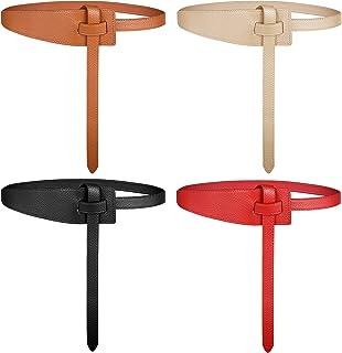 4 Pieces Women's Leather Belt PU Leather Knot Belts Dress Belt for Jeans Jumpsuit Coat Tie a Knot Leather Waist Belt Non B...
