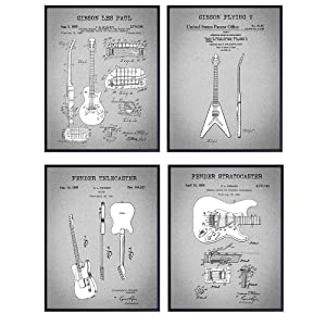 Guitar Patent Art Prints, Fender, Les Paul, Stratocaster, Flying V, Telecaster - Vintage Retro Wall Art Picture Set - Home Decor for Bedroom, Living Room - Gift Set for Musician, Guitar Player -8x10's