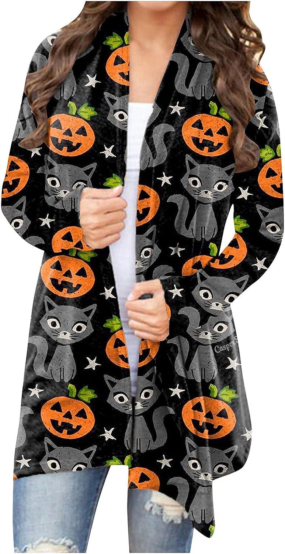 XSSFCC Women Halloween Open Front Cardigan Sweaters Lightweight Long Sleeve Shrugs