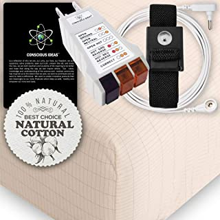 Earthing Grounding King Size Fitted Matress Sheet (Beige) 400TC Pure Silver Thread Conductive Earth therapy bedding Blanket, Natural Energy | 95% Organic Cotton For Better Sleep | Connection Cord