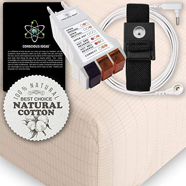 Earthing Grounding TWIN Size Fitted Matress Sheet BEIGE 400TC Pure Silver Thread Conductive Earth Therapy Bedding Blanket Natural Energy 95 Organic Cotton For Better Sleep Connection Cord