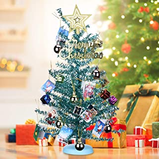 KEYNICE Tabletop Mini Christmas Tree Artificial Home Decor with 22 Pcs Christmas Decoration Ornaments Glittering Christmas Trees Set for DIY Room Party Xmas Decoration (Blue)