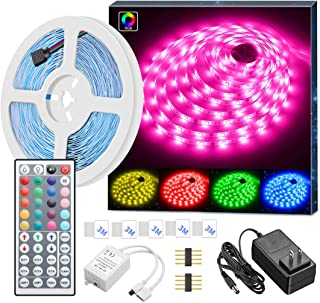 MINGER LED Strip Lights, 16.4ft RGB LED Light Strip 5050 LED Tape Lights, Color Changing LED Strip Lights with Remote for Home Lighting Kitchen Bed Flexible Strip Lights for Bar Home Decoration