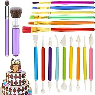 GIHENHAO 17 pièces Outils de modelage fondants, Lot d'ustensiles pour décoration gâteau,Outils de Sculpture en Pâte à Mode...