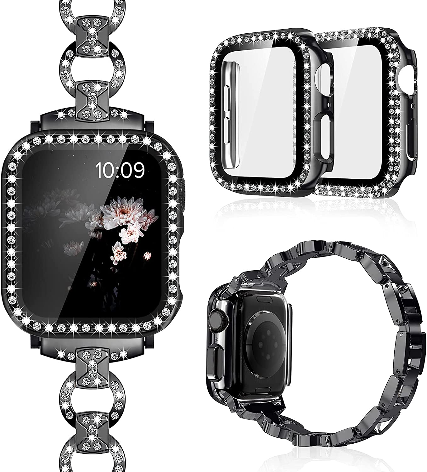 Invoibler Compatible with Apple Watch Band 40mm 44mm with Rhinestone Protective Cover, Women Girls Jewelry Replacement Metal Wristband Strap with 2PCS Bling Diamond PC Protective Case for iWatch Series 6/5/4