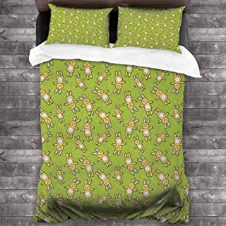 Estivation New Printed Anime,Kids Toy Rabbits Pattern on a Green Background with Doodle Carrots, Apple Green Yellow and White 78x78 inch Children Sleeping Mats