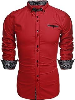 PIZZ ANNU Mens Fir Leaf Printed Short Sleeve Shirts Casual Button-Down Shirts
