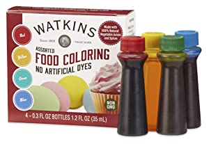 Watkins Assorted Food Coloring, 1 Each Red, Yellow, Green, Blue, Total Four .3 oz bottles