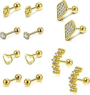 JOVIVI 12Pcs 16G Stainless Steel Cartilage Stud Earrings for Men Women Conch Forward Lobe Helix Tragus Earrings Daith Pier...