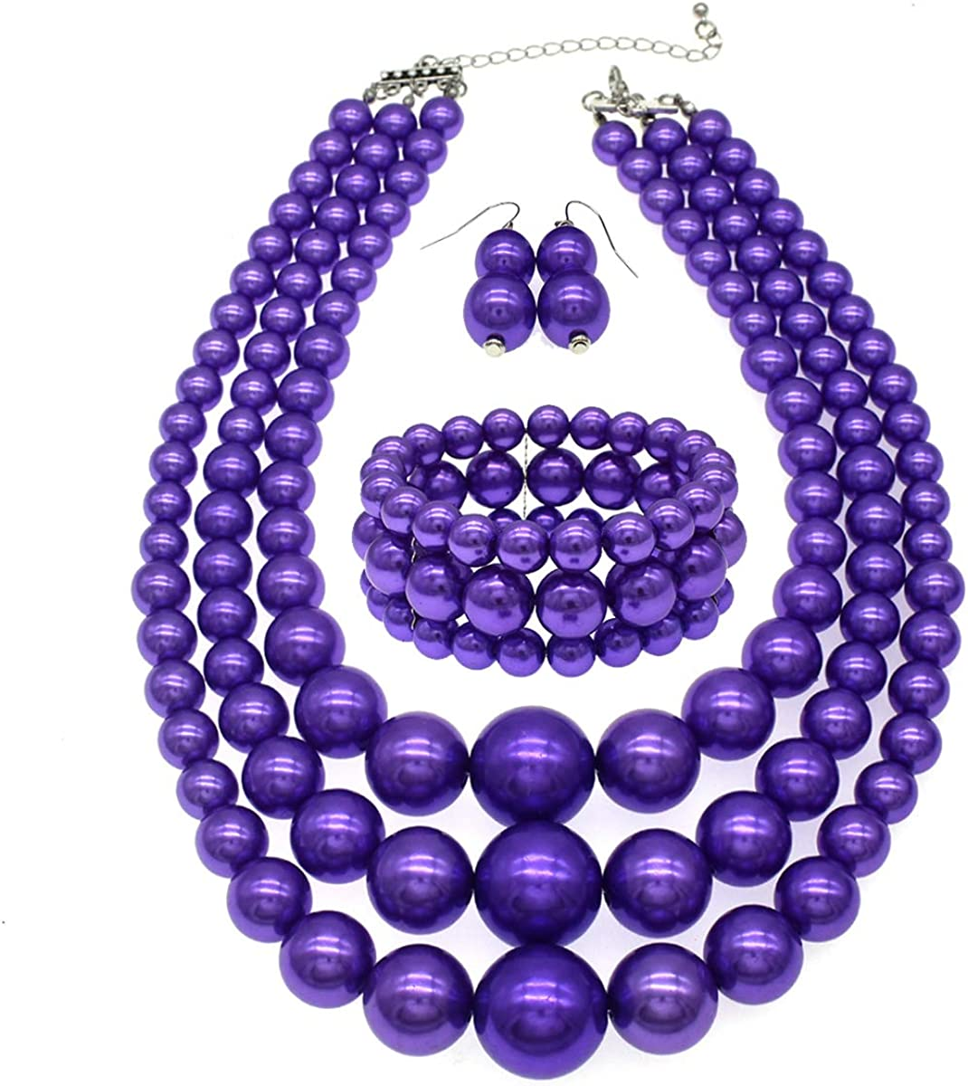 JNF Large Pearl Necklace Set Multi Layer Pearl Strand Costume Jewelry Sets Pearl Statement Necklace Bracelet and Earrings for Women (Fushcia)